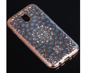 Силиконовый чехол Xiaomi Redmi Note 4X Битые кристаллы, окантовка со стразами, золотой