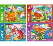 Пазлы 12 элементов. Яркие динозавры Рыжий кот П12-0620