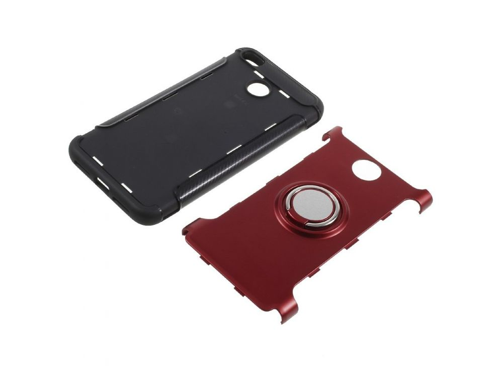 Силиконовый чехол Xiaomi Redmi 4X магнитное кольцо, карбоновые вставки, вырез для лого, красный