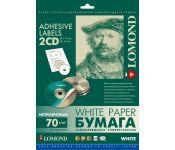 Самоклеящаяся бумага LOMOND универсальная для этикеток, A4, 2 шт для CD/DVD (D117 / D18мм), 70 г/м2
