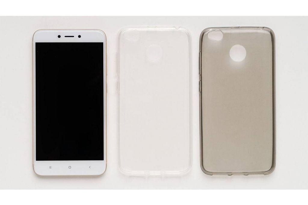 Силиконовый чехол Xiaomi Redmi 4X карбон, металлик золотой