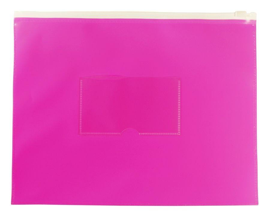 Папка на молнии ZIP Бюрократ Double Neon DNEBPM5APINK A5 полипропилен розовый карм.для визит. цвет молнии белый