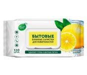 Салфетки влажные Свежая Нота для поверхностей (120лист.) лимон