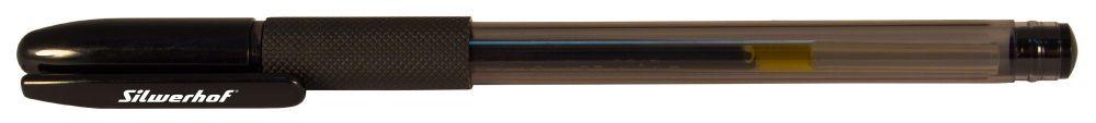 Ручка гелевая Silwerhof 026158-02 0.5мм резиновая манжета черные чернила коробка картонная