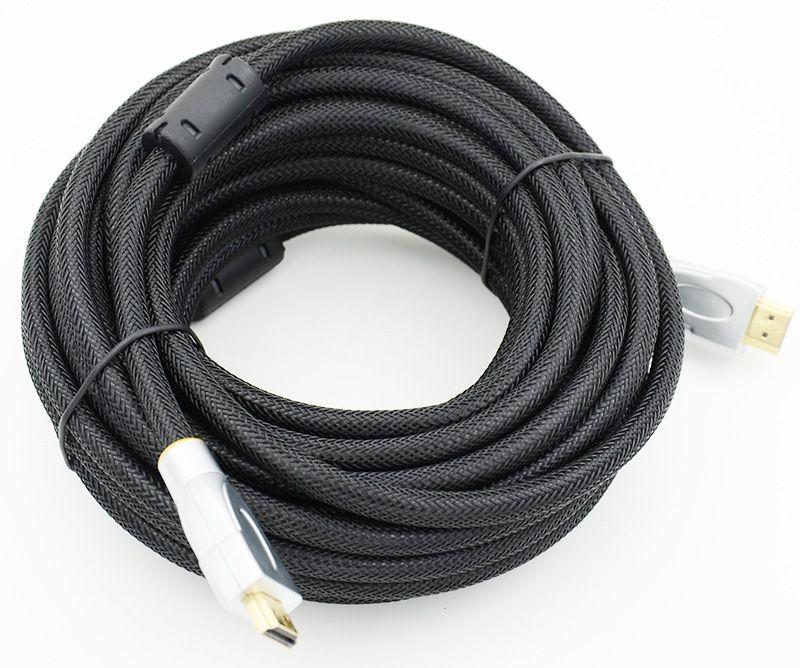 Кабель HDMI Ver.1.4 Silver/gold jack HDMI(19pin)/HDMI(19pin) (10м) феррит.кольца Позолоченные контакты