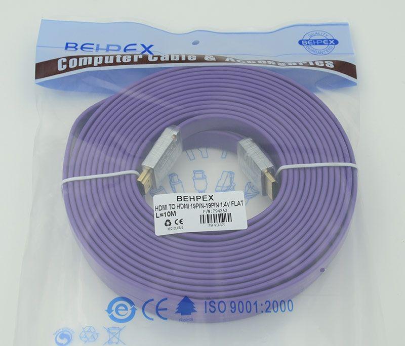 Кабель HDMI Ver.1.4 FLAT Purple jack HDMI(19pin)/HDMI(19pin) (10м) феррит.кольца Позолоченные контакты