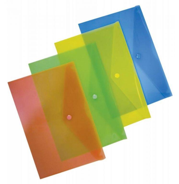 Конверт на кнопке Бюрократ PK803ACLEAR A4 пластик 0.18мм прозрачный