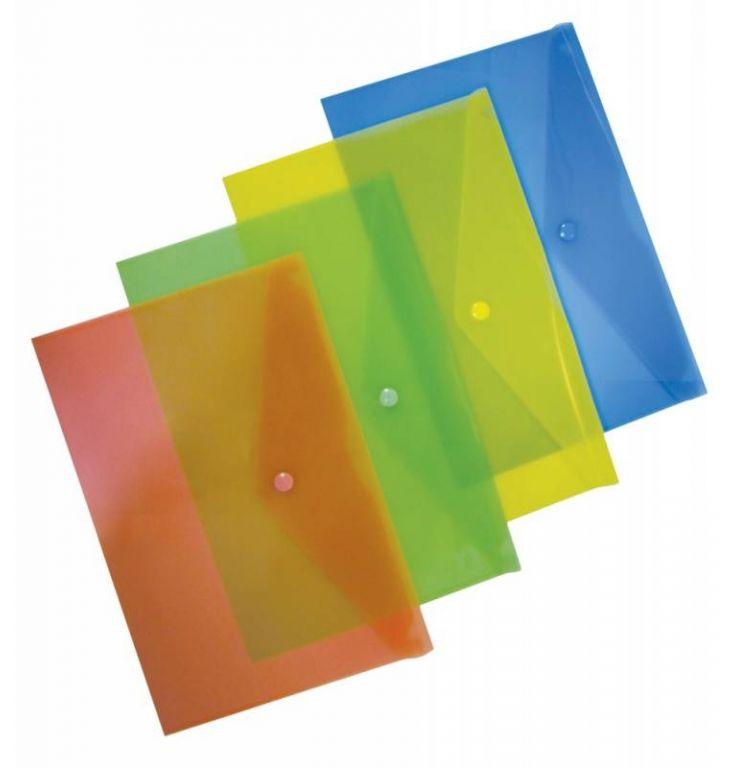 Конверт на кнопке Бюрократ PK803AGRN A4 пластик 0.18мм зеленый