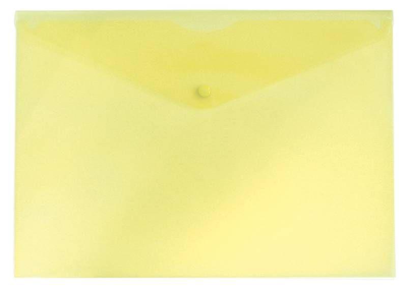 Конверт на кнопке Бюрократ PK803AYEL A4 пластик 0.18мм желтый