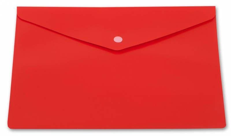 Конверт на кнопке Бюрократ PK804A5NRED A5 непрозрачный пластик красный