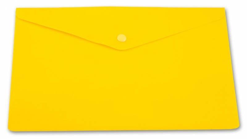 Конверт на кнопке Бюрократ PK804A5NYEL A5 непрозрачный пластик 0.18мм желтый