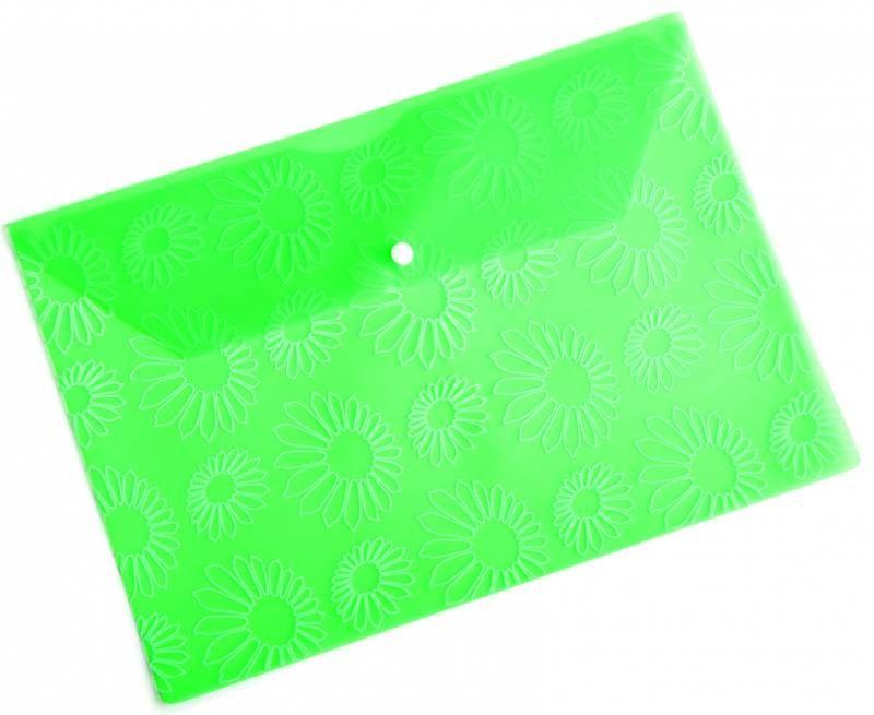 "Конверт на кнопке Бюрократ PK820GRN A4 с рисунком ""Ромашки"" пластик 0.18мм зеленый"