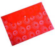"""Конверт на кнопке Бюрократ PK820RED A4 с рисунком """"Ромашки"""" пластик 0.18мм красный"""