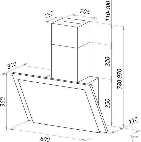 Кухонная вытяжка MAUNFELD Tower Touch 60 (белый)