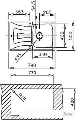 Кухонная мойка TEKA Universo 79 1B 1D (cталь полированная)