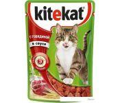 Корм для кошек Kitekat с говядиной в соусе 0.085 кг
