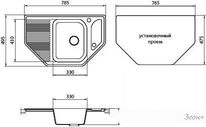 Кухонная мойка Granicom G002 (грей)