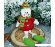 Мягкая игрушка Зимнее волшебство Снеговик в красной кофте 25 см (красный)