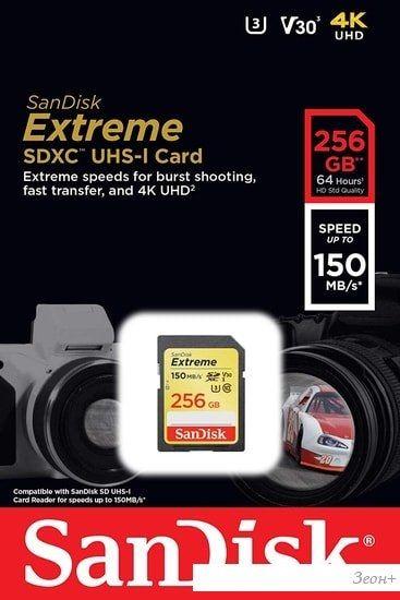 Карта памяти SanDisk Extreme SDXC SDSDXV5-256G-GNCIN 256GB