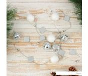 Бусы Зимнее волшебство Шарики и ромбики 1.6 м d-2.5 см (белый/серебро) 3562563