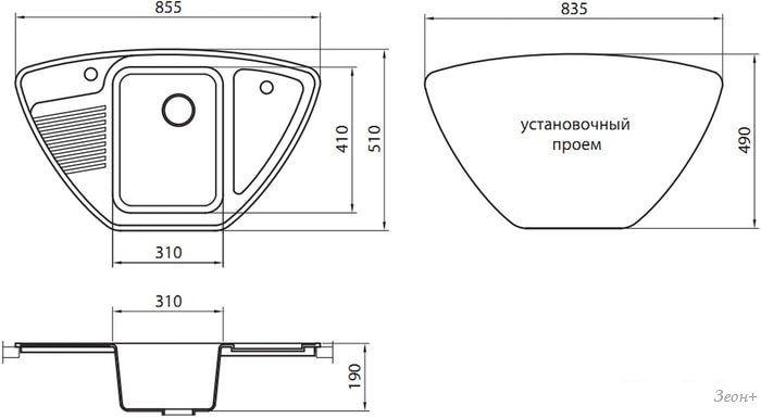 Кухонная мойка Granicom G008 (сахара)