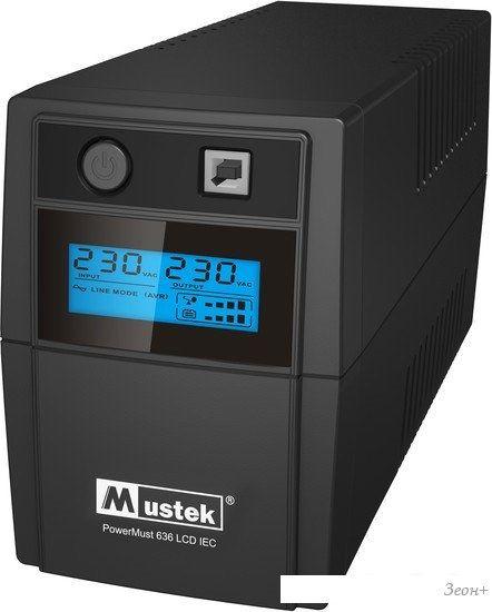Источник бесперебойного питания Mustek PowerMust 636 LCD (650VA), Line Int., IEC [98-LIC-C0636]