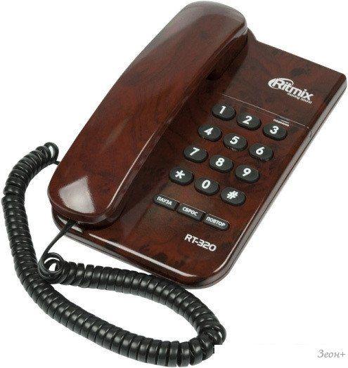 Проводной телефон Ritmix RT-320 (коричневый)