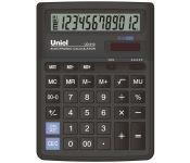 """Калькулятор настольный, 12 разрядов,дв.питание и память,""""торг. наценка"""",перекл. кол-ва знаков после запятой и типа округления,отмена посл. введенного символа,вычисление процентов и кв. корня,автомат. выкл.,цвет черный,размер:193х143х38.4мм арт UD-610 Un"""