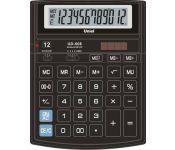 """Калькулятор настольный, 12 разрядов, двойное питание, большой дисплей, двойная память, переключатель количества знаков после запятой, функция """"Торговая наценка"""", цвет черный, размер: 204х158х47мм арт UD-608 Uniel"""