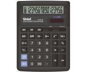 """Калькулятор настольный, 16 разрядов, двойное питание, двойная память,переключатель количества знаков после запятой,функция """"Торговая наценка"""",размер:193х143х38,4мм, цвет черный арт UG-610 Uniel"""
