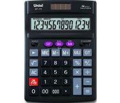 """Калькулятор 14 разрядов, двойное питание, функция """"Торговая наценка"""", функция """"Итоговая сумма"""", функция """"Расчет налога"""", автоматическое выключение, переключатель типа округления, размер: 190х137х44, цвет черный арт UF-70 Uniel"""