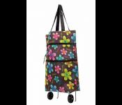 Хозяйственная складная сумка с выдвижными колесиками, цветы 2 TD 0515