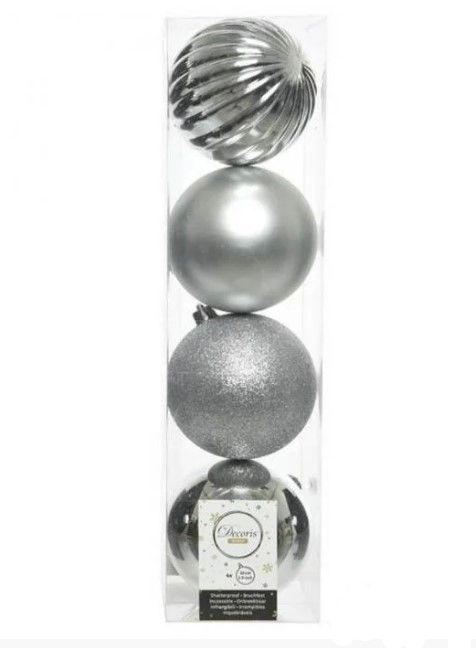 Kaemingk Набор шаров Новогодняя Гармония 10cm 4шт Silver 21011