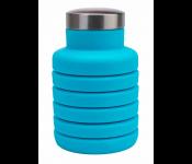 Бутылка для воды силиконовая складная с крышкой, 500 мл, голубая TK 0270