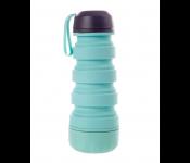 Силиконовая складная бутылка с отсеком для таблеток, бирюзовая KZ 0656