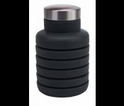 Бутылка для воды силиконовая складная с крышкой, 500 мл, темно-серая TK 0269